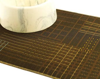 Cat Placemat, Choose Your Size, Waterproof, No Mess Mat, Dog Placemat, Pet Food Mat, Litter Mat, Non Slip Mat, Splat Mat, Brown Modern Lines