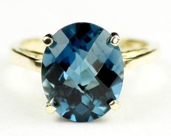 London Blue Topaz, 18KY Gold Ring, R055