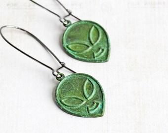 Green Alien Earrings, Aged Patina Earrings on Gunmetal Hooks, Outer Space Martian, Sci Fi Jewelry