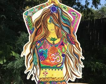 Yoga Goddess Wood Cut Out Only | Yoga Studio Art | Yoga Wall Art | Yoga Studio Decor | Wood Cut Out | Yoga Gift Idea | Yogi Art
