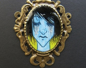 ACID LADIES ...Fall on Their Own Bronze Pendant 38 x 50 mm