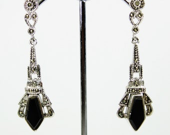 A Pair Of Sterling Silver Marcasite And Black Onyx Gemstone Studded Earrings