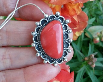 Red Coral Sterling Pendant on Sterling Silver Necklace