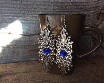 Chandelier earrings, statement earrings, sapphire jewelry, silver rhinestone earrings, blue sapphire earrings, silver metal lace earrings
