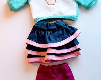 Cupcake Hoodie 3 pc outfit for 18 inch dolls like American Girls