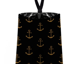 Car Trash Bag // Auto Trash Bag // Car Accessories // Car Litter Bag // Car Garbage Bag -  Anchors - Gold Black Bronze Navy Sailor Nautical