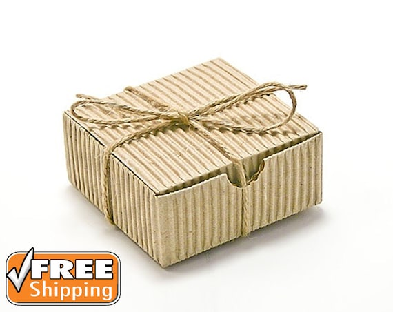 20 Small Gift Boxes Natural Corrugated Gift Box Kraft Craft Gift