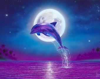 Dolphin Art Print, Dolphins Art, Dolphin Wall Decor, Art Print Beach Wall Decor, Dolphin art, Dolphin Poster, Dolphins art print, Moonlight