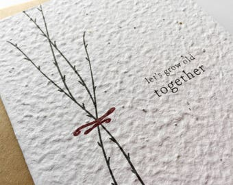 Valentines Day Card / To my Groom To my Bride Wedding Day Card / Plantable Paper Wedding Keepsake / Wedding Vows Seed Paper / Lets Grow Old