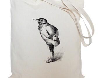 Tote bag/ drawstring bag/ bird in a suit/ cotton bag/ material shopping bag/ shoe bag/ gift bag/ market bag