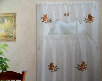 3-Piece Owl Bird Kitchen Window Curtain Set Drapes Cafe Tier & Swag Color Beige
