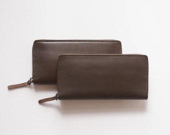 Leather Zippy Wallet (Description: genuine cow leather/ Leather wallet / leather purse / leather handcrafted wallet / VANSO Collection)