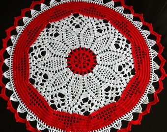 Crochet doily white red doily crocheted centerpiece lace table cloth round tablecloth crochet doilies handmade home decor 100% cotton