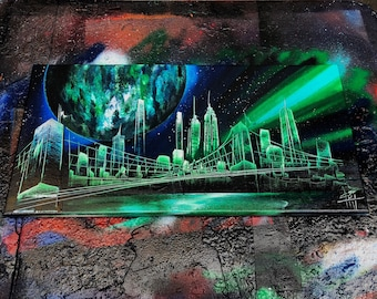 Aurora 2.0. New York Skyline. Spray Paint Art.