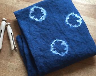 Indigo Linen Tea Towel - Indigo Shibori Design - Hand-Dyed Linen Towel, S10