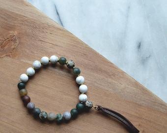 Leather Fringe Bracelet // Indian Agate | Howlite | Dalmatian Jasper