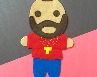Looks Like Mr. Tee... - Iron On Applique/Patch - Made Out of 100% Recycled Felts