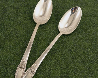 2 Serving Spoons 1847 Rogers Bros First Love Vintage 1937 Silverplate Tablespoon Flatware Silverware Silver Plate