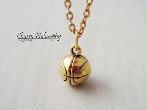 Gold basketball necklace 3d basketball pendant antique gold basketball necklace 3d basketball pendant antique gold toned jewelry mozeypictures Gallery