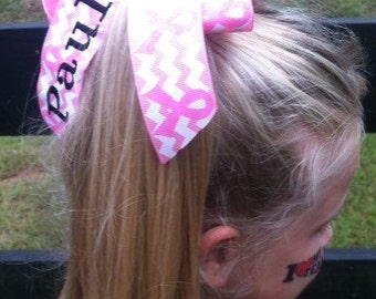 Monogrammed Name, Chevron Glitter, Breast Cancer, Awareness Custom, Boutique Hair Bow, Gift Idea, Team Cheer, Hot Pink Out, Lettering Font