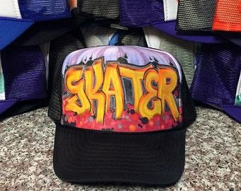 """Custom """"Skater"""" Graffiti mesh trucker hat"""