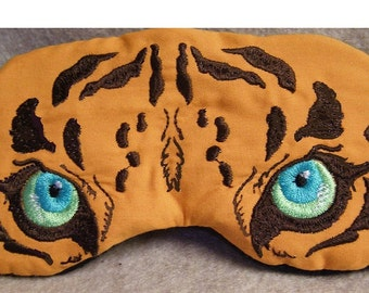 Embroidered Eye Mask for Sleeping, Cute Sleep Mask, Cat Mask, Tiger, Sleep Blindfold, Eye Shade, Tiger Slumber Mask, Tiger Design, Handmade
