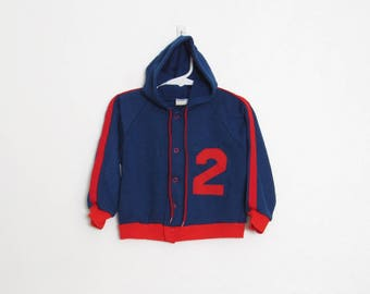 Vintage Boy's Sweatshirt / Navy Blue & Red #2 Athletic Hoodie / 70s JCPenney ToddleTime Track Jacket / Size 3T