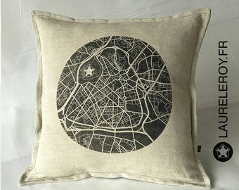 Lille map Cushion cover linen