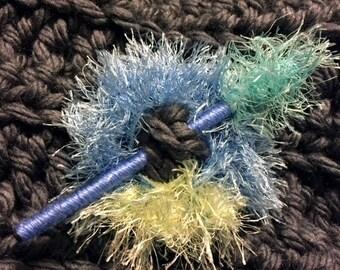 Shawl Pin  Shawl Stick, Blue, Green, Teal