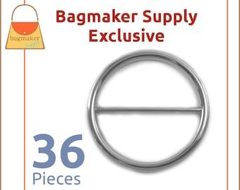 "1-1/2 Inch Round Slide, Circle Buckle, Nickel Finish, 36 Pack, Purse Handbag Bag Making Strap Hardware, 1.5"", 1-1/2"", BKS-AA099"