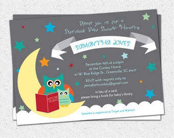Baby Shower Invitation, Printable, Story Book Themed mom and baby Owl, Moon and Stars, Boy or Girl Gender Neutral, Modern DIY Digital File