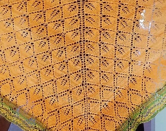 Handwoven and Knit Shawl - Butterfly