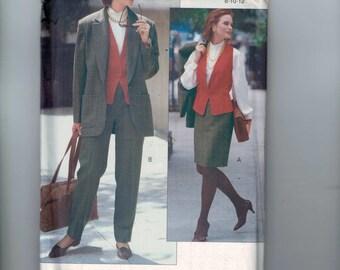 Misses Sewing Pattern Vogure Career 7898 Misses and Petite Jacket Vest Skirt Pants Suit Size 8 10 12 Bust 31 1/2 32 1/2 34 UNCUT  99