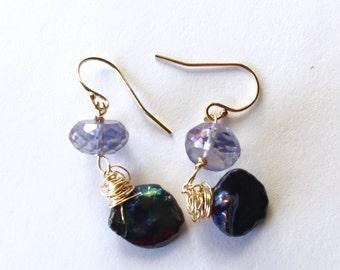 Blue Quartz, indigo Keishi, Gold fill Earrings, Lilyb444