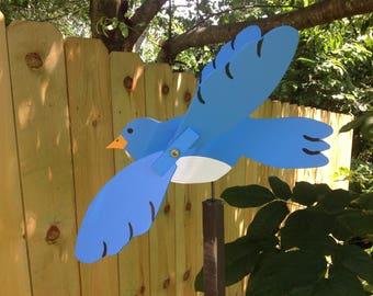 blue bird whirligig bluebird wooden hand made folk art whirligigs wood yard art garden whirligig, yard ornament