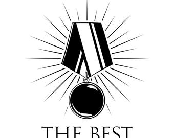 Black medal SVG | Award, winner, champion | Medal in beams | The best | Digital File | Vector illustration | Medal with ribbons