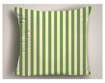 Greenery Pillows with Stripes, Custom Throw Pillows, Pantone Color Personalized Pillow, Decorative Throw Pillows