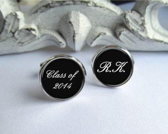 Mens Cufflinks, Graduation 2014, Graduation Cufflinks, Personalized Initial Cufflinks