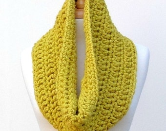 Crochet Cowl Scarf, Chunky Loop Scarf, Mustard Yellow Autumn Scarf, Crochet Neck Warmer, Unisex