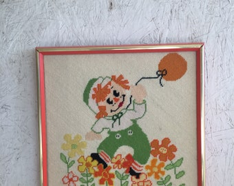 Vintage Raggedy Andy Needlepoint Wall Hanging Orange Green Nursery Decor