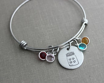 jar of love bracelet, hand stamped pewter disc with mason jar and hearts, stainless steel expandable bangle and Swarovski crystal birthstone