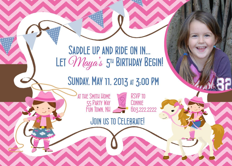 Cowgirl Birthday Invitation First Birthday Cowgirl Party
