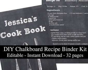DIY Chalkboard printable recipe binder kit editable planner instant download recipe book organizer PDF