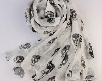 White Silk Chiffon Scarf with Black Skull Print - Skeleton Printed Mulberry Silk Scarf - AS79