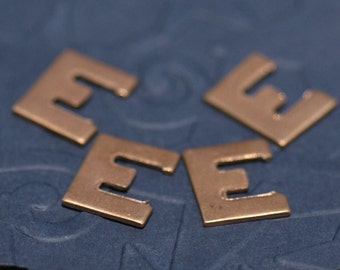 Copper Letter E Alphabet Blank Shape for Texturing Soldering Enameling - 4 pieces