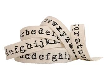 Typewriter Alphabet Natural Cotton Ribbon 1m Craft Ribbon