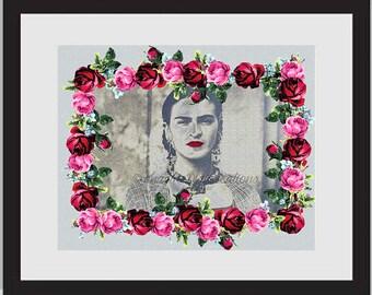 Frida Inspiration, Digital Art, Frida Kahlo, Fridalicious, Inspirational Quotes, Love Print, Frida Lovers, Vintage Look, Chichen Itza,Galaxy