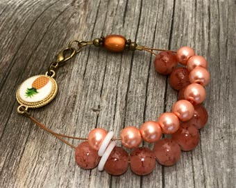 Pineapple Peach Abacus Counting Bracelet, Beaded Knitting Row Counter, Gift for Knitters, Counting Jewelry