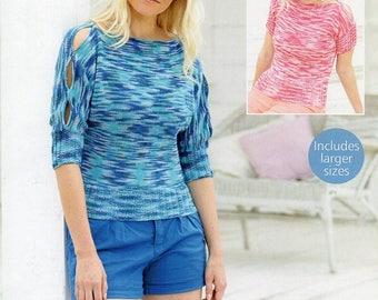 Sirdar Cotton Prints DK Ladies Top Jumper Knitting Pattern PDF Download