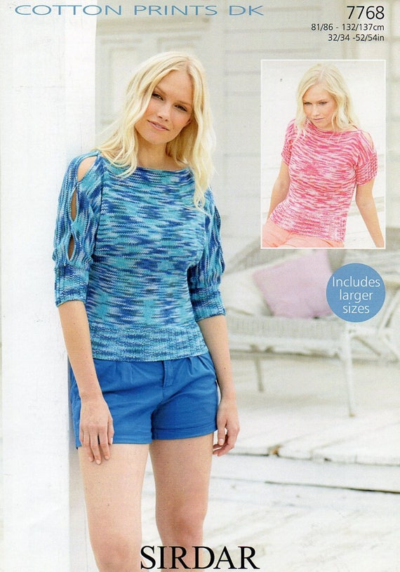 Sirdar Cotton Prints Dk Ladies Top Jumper Knitting Pattern Pdf